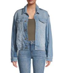 dl1961 women's annie oversized cropped denim jacket - deacon - size m
