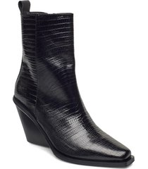 ursula shoes boots ankle boots ankle boot - heel svart nude of scandinavia