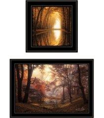 "trendy decor 4u nature's reflections 2-piece vignette by martin podt, black frame, 27"" x 15"""