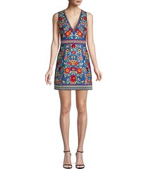 patty floral-embroidered a-line dress