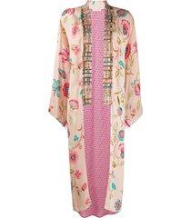 anjuna mixed pattern frayed edge coat - pink