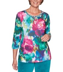 alfred dunner bright idea watercolor-print embellished top