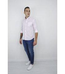 camisa essential manga larga rayas rosa para hombre - cce103