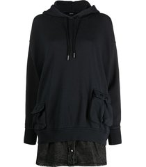 diesel layered effect hooded dress - black