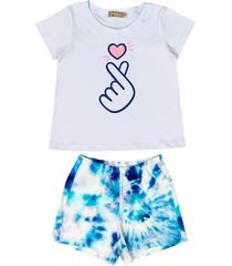 conjunto pijama tie dye de malha douvelin azul - azul/branco - menina - algodã£o - dafiti