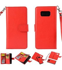 galaxy s8 plus wallet,xyx [red 9 card slot][detachable wallet folio][2in1 design