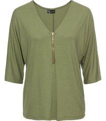 maglia con maniche a pipistrello e cerniera (verde) - bodyflirt