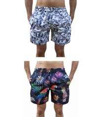 kit 2 bermuda short moda praia estampada dollar e arara