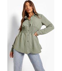 blouse met geplooide taille, olive