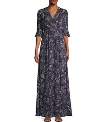 floral faux-wrap maxi dress