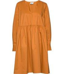 stellagz solid dress ms20 jurk knielengte geel gestuz