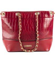 bolso femenino tipo cartera rojo con textura croco marca cosmos
