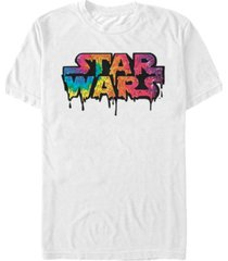 star wars men's classic tie die melting drip logo short sleeve t-shirt