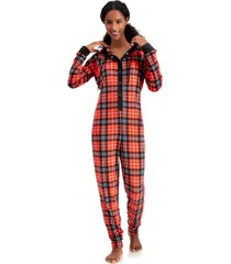 jenni hooded velour one piece unionsuit pajamas, created for macy's