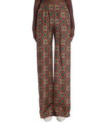 casablanca pants in brown silk