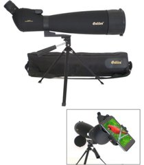 galileo 30x - 90x zoom spotting scope with smartphone adapter and shoulder case