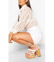 petite organza mesh flannel shirt, white