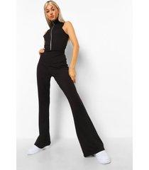 tall geribbelde jumpsuit met rits en wijd uitlopende pijpen, black
