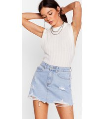 womens you don't fray high-waisted denim skirt - light blue