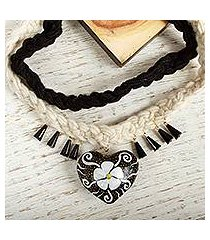 wood braided pendant necklace, 'flower of my heart' (mexico)