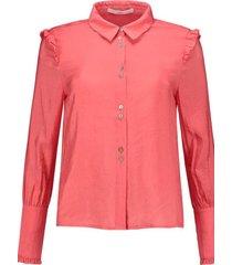 roze oranje dames blouse met schouder ruches aaiko - sorei