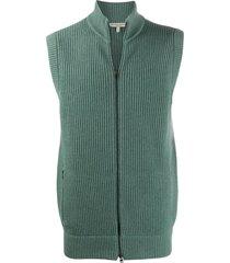 holland & holland ribbed zip-up vest - green