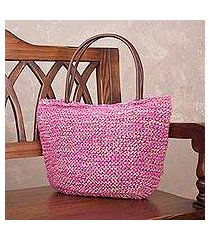 jute shoulder bag, 'sweet fuchsia' (peru)