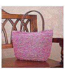 jute shoulder bag, 'sweet fuchsia' (peru)