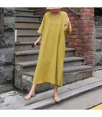 zanzea vestido largo largo de verano para mujer kaftan llanura sólido básico suelto -amarillo
