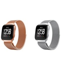 posh tech unisex loop fitbit versa assorted stainless steel watch replacement bands - pack of 2