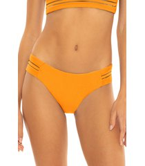 women's isabella rose queensland side tab bikini bottoms, size small - orange