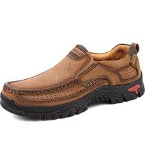 scarpe casual da uomo resistenti all'usura antiscivolo in pelle di mucca traspirante