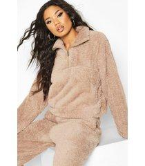 korte nepwollen sweater met buidel, taupe