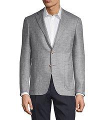 checker silk & cashmere blazer