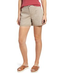 women's caslon rolled cuff twill shorts, size 16 - brown