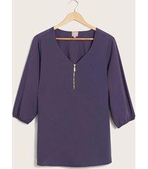blusa con cremallera en escote azul 14