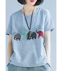 magliette casual a manica corta a ricamo con elefanti a righe