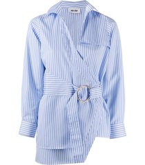each x other striped print belted shirt - blue
