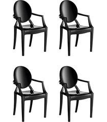 conjunto 4 cadeiras wind plus preto kappesberg - preto - dafiti