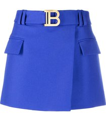 balmain belted short skirt - blue