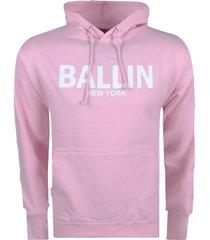 ballin new york heren hoodie sweat lichtroze wit