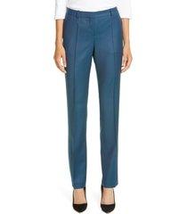 women's boss titana straight leg wool pants, size 6 - blue