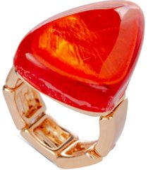 style & co gold-tone orange statement stretch ring, created for macy's