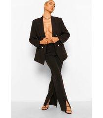 getailleerde broek met split, black