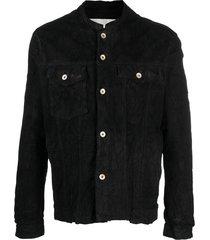 giorgio brato distressed-effect suede leather jacket - black