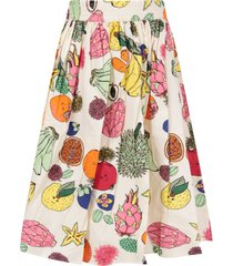 molo ivory girl skirt with colorful fruits