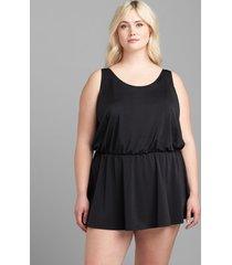 lane bryant women's no-wire blouson swim dress 24 black