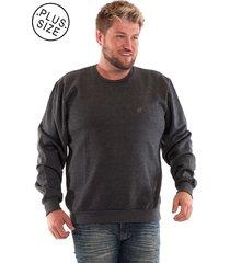 blusão konciny básico de moletom plus size grafite