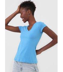 camiseta polo wear gola v azul - azul - feminino - algodã£o - dafiti