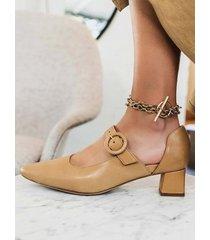 donna elegante punta a punta tinta unita cinturino con fibbia alla caviglia slip on décolleté con tacco grosso